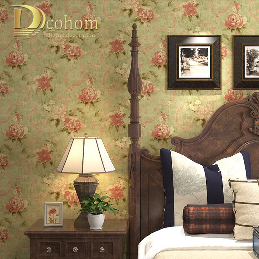 Vintage American Rustic Painting Floral Wallpaper Roll For Wall paper Living room Sofa TV Bedroom Background Decor vintage beautiful mahogany living room large mural wallpaper living room bedroom wallpaper painting tv background wall wallpaper
