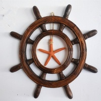 Solid wood Helmsman Decoration steering wheel Wooden rudder Home Decoration The Mediterranean background wall home decorations