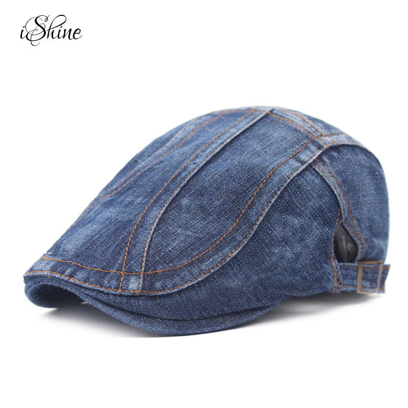 Newest Fashion Men and Women Splicing Jean Advance Hats Denim Cloth Casual Peaked Caps for femme Autumn Winter Beret Adjustable 10pcs lot 100