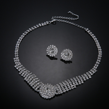 Silver Wedding African Statement Earrings Necklace Rhinestone Bridal Jewelry Sets For Women Crystal Stud Earrings Pendants
