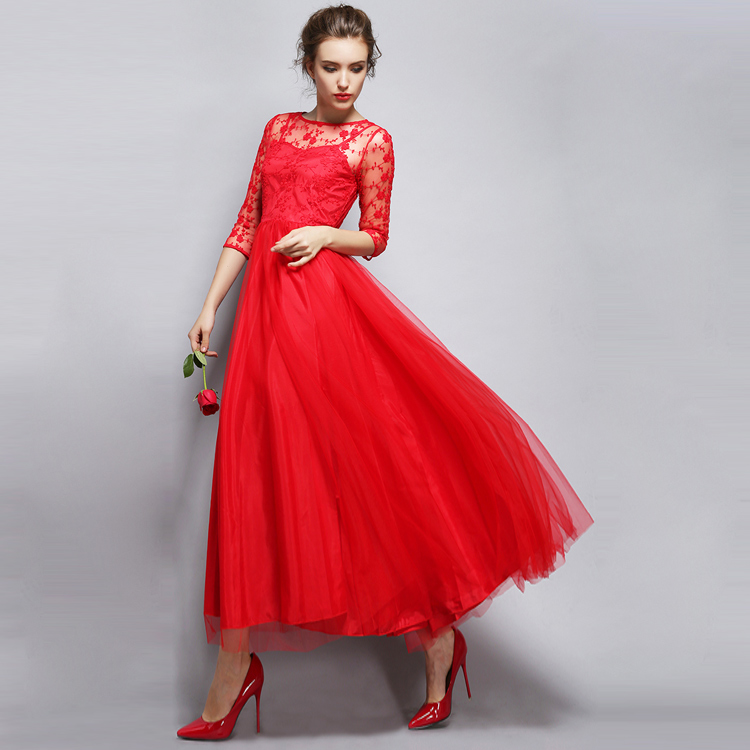 2016 New Style Summer Dress Women Elegant Evening Party Dresses Three Quarter Sleeve White Red