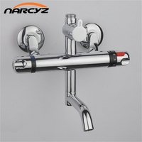 Thermostatic Shower Faucet Bathroom Wall Mounted Thermostatic Bathtub Mixing Valve Dual Handle Polished Crane AL 860