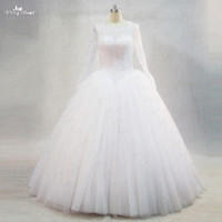 RSW977 Floor length Boat Neckline Lace Up Back Long Sleeve Princess White Wedding Ball Gowns