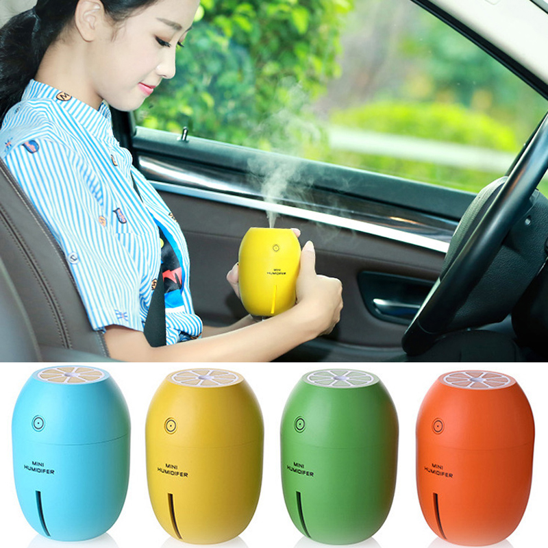 Car air freshener Creative Lemon Style USB Ultrasonic Car Humidifier With Colorful Led Light 180ML Essential Oil Aroma Diffuser car outlet perfume air freshener with thermometer lime