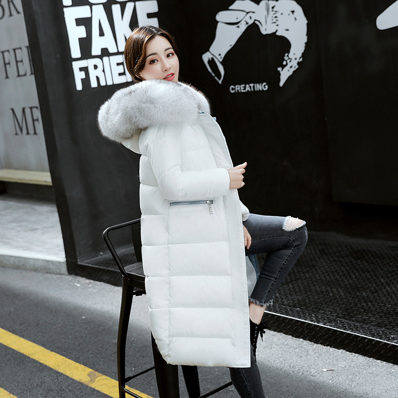 New Hot Women Winter Down Coat Fashion Female Big Fur Collar Duck Parkas Jacket Thick Warm Elegant Down Coat Slim Wadded Jacket