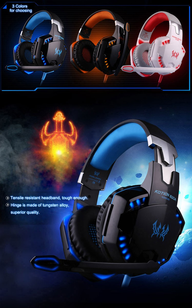 EACH G2000 Over-ear Gaming Headphone Headset Earphone With Mic Stereo Surrounded Bass LED Light For PC Game (2)