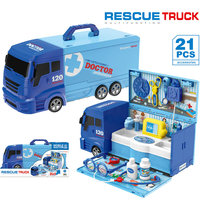 21PCS Rescue Truck Toy Car 2IN1 Doctor Toys Set Doctor's kit for children Role playing Games Educational Kids Toys