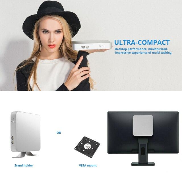 Мини ПК Intel Core i7 7500U i5 7200U i3 7100U офисный компьютер 4 K 300 M WiFi HDMI VGA 6 * USB Gigabit Ethernet Windows 10 Linux HTPC 5