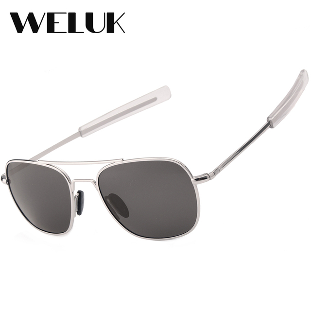 738a74d9ef WELUK Fashion Brand Military AO Polarized Army Pilot Sunglasses American  Optical Glass Lens Sun Glasses Oculos De Sol Masculino
