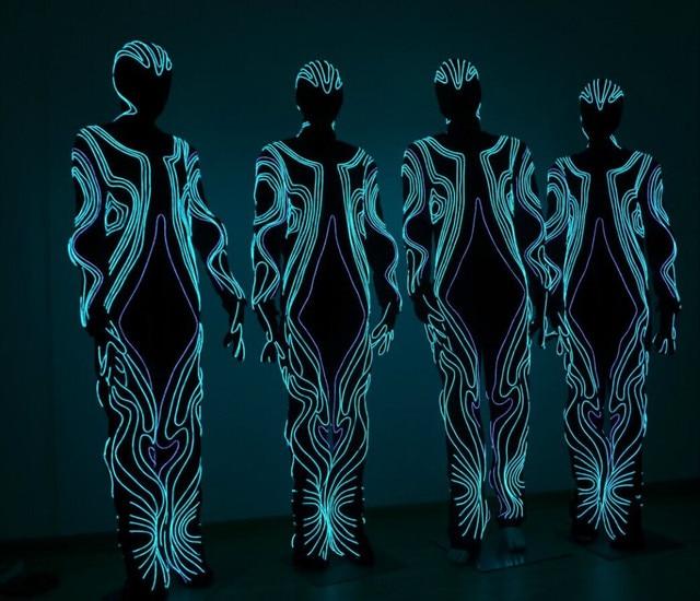 EL draht chromatische draht leuchtbekleidung/leucht kostüm/Trikot in ...