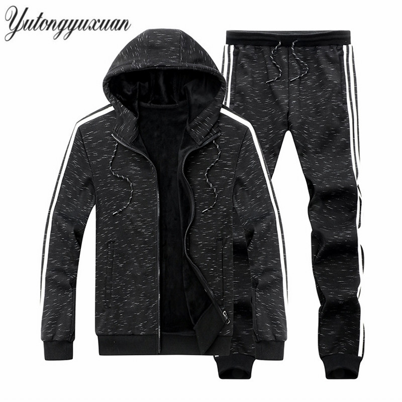 2017 Winter Mens Velvet thick Tracksuit Hoodies Jackets Pants Set Plus Size 5XL Solid Color Black