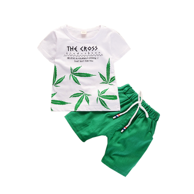 Летняя одежда для мальчиков Комплекты одежды для девочек Детская футболка с листьями шорты 2 шт./компл. комплект одежды для отдыха для малышек, спортивные костюмы для малышей, детский спортивный костюм, хлопковые