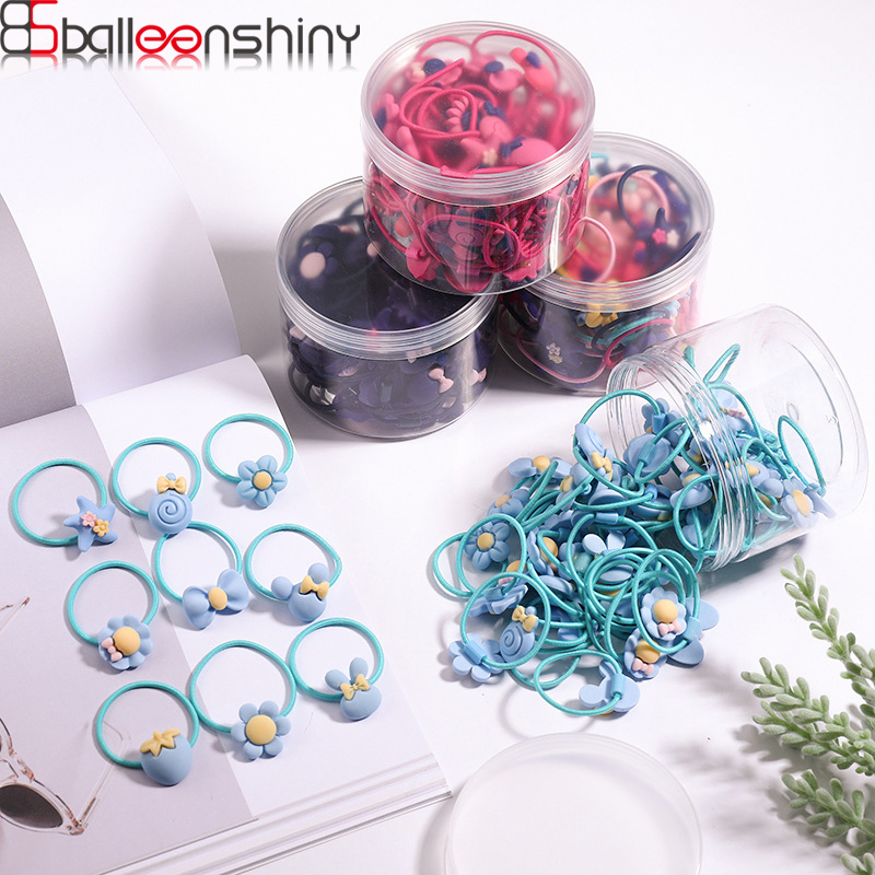BalleenShiny 60Pcs/set Sweet Baby Girls Elastic Hair Band Kids Cartoon Rubber Band Princesses Headwear Accessories With Case