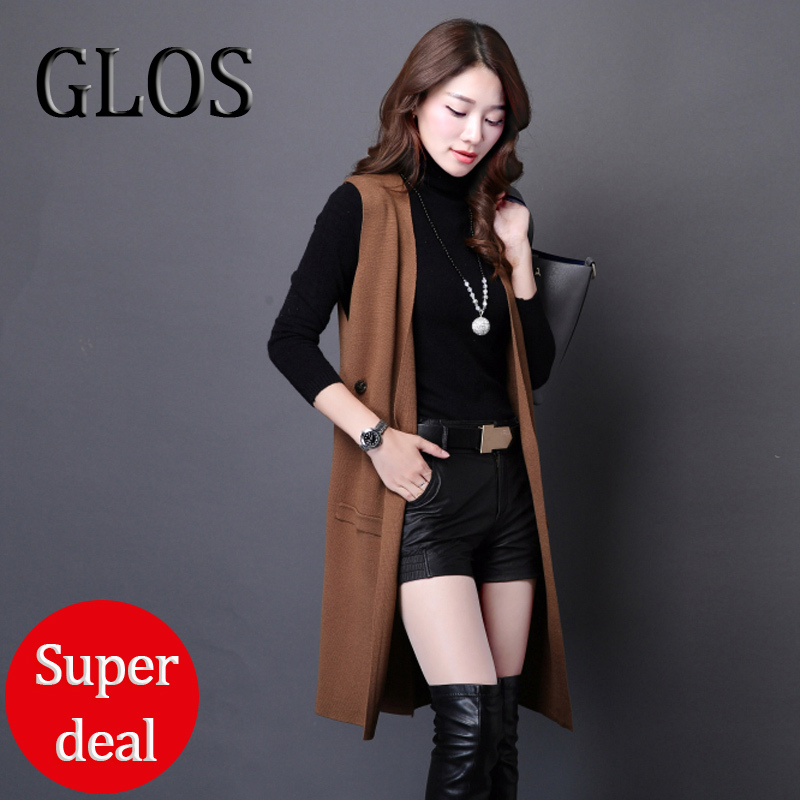 Promotions GLOS long cardigans women,Fashion casual sleeveless ...