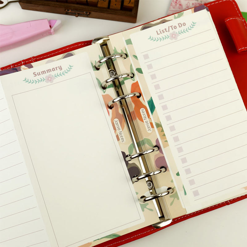 2018 Yiwi A5 A6 Foldable Loose Leaf Notebook Refill Spiral Binder Planner Inner Page Inside Paper Dairy Monthly Plan Todo list binder inner page notebook loose leaf papery separator index paper separation divider page 5 sheets matching filofax kikkik