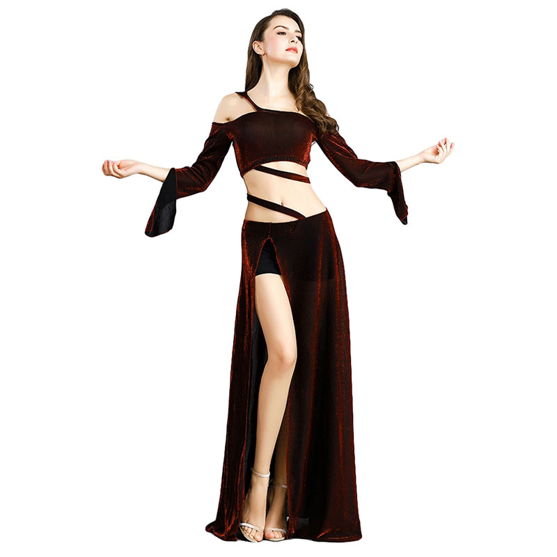 Fashion Women Belly Dance Costume Set Flared Sleeve Indian Dress Bellydance Performance Clothes Adult Exotic Dancewear DC1262