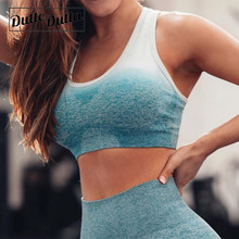 Running Ombre Seamless Padded Workout Sports Bra High Impact Sport Underwear Women Top Academia Femme Racerback Sportswear(China)
