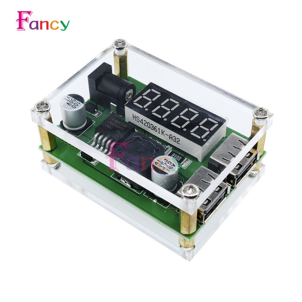 DC-DC 9V 12V 24V 36V to 5V 3A LED Digital Display Step Down Buck Module Voltage Voltmeter Dual USB Converter With Case for Car