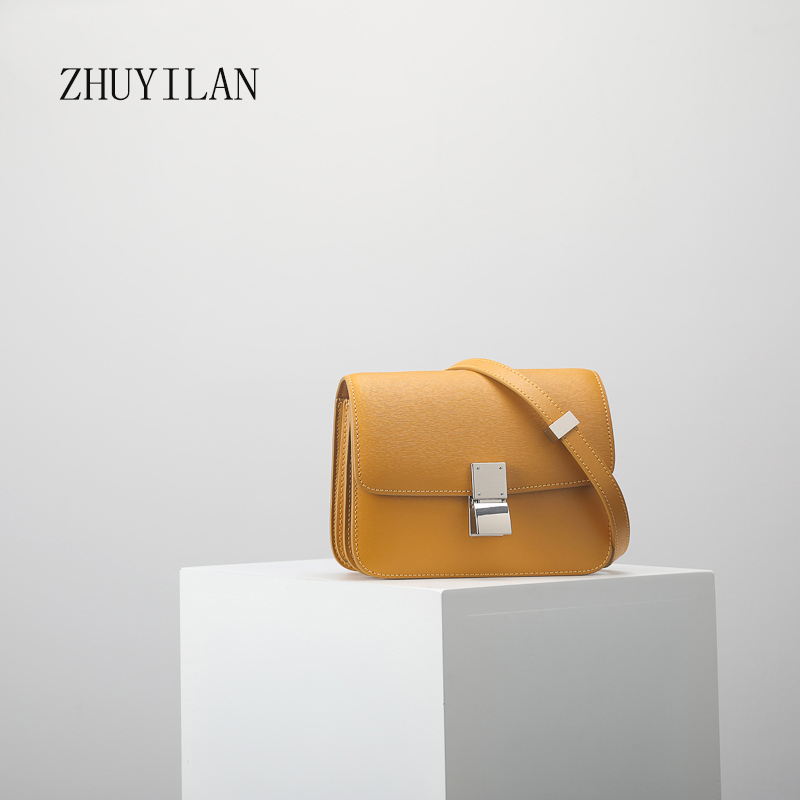 Petit sac en cuir de haute qualité personnalisé sac de tofu en cuir sculpté à la main polyvalent classique diagonale d'épaule jaune gingembre