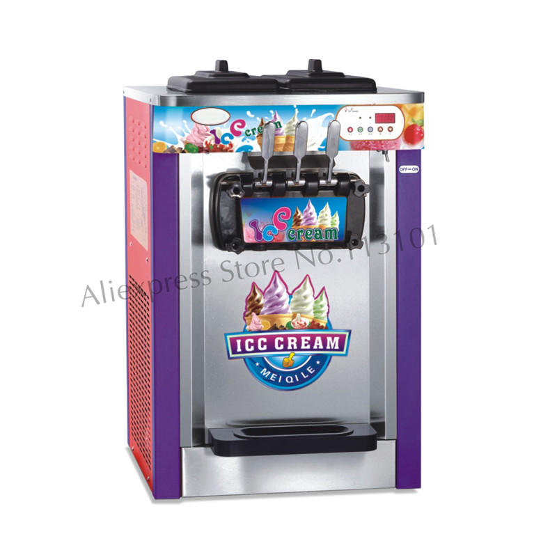 Commercial Desktop Ice Cream Machine Soft Serve Ice Cream Maker Three Heads 22~25L/H Hot Sale 220V specs desktop soft ice cream machine stainless steel soft serve maker 220v with digital control ice cream cone 22 25liters h capacity