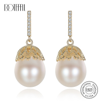 DOTEFFIL Earrings Natural Freshwater Pearl 925 Sterling Silver Lace Design Gilt Earrings Pearl Jewelry Women Wedding/Party Gift