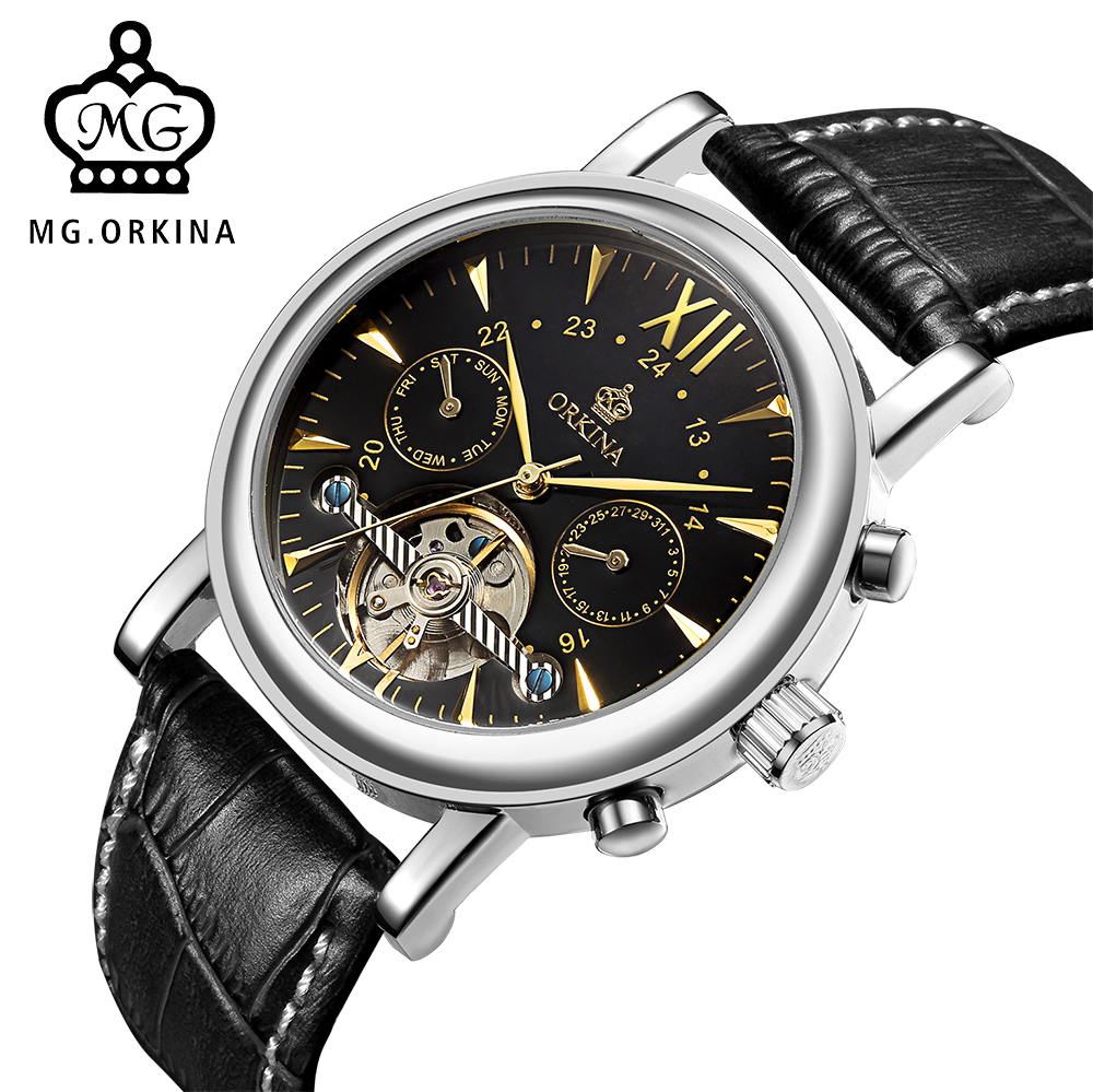 MG. ORKINA Male Automatic Watch Multifunctional Montre Homme Men Tourbillon Mechanical Wristwatch Auto Date Day Horloges Mannen jaragr fashion square dial men s day month automatic mechanical watch reloj male wristwatch montre homme