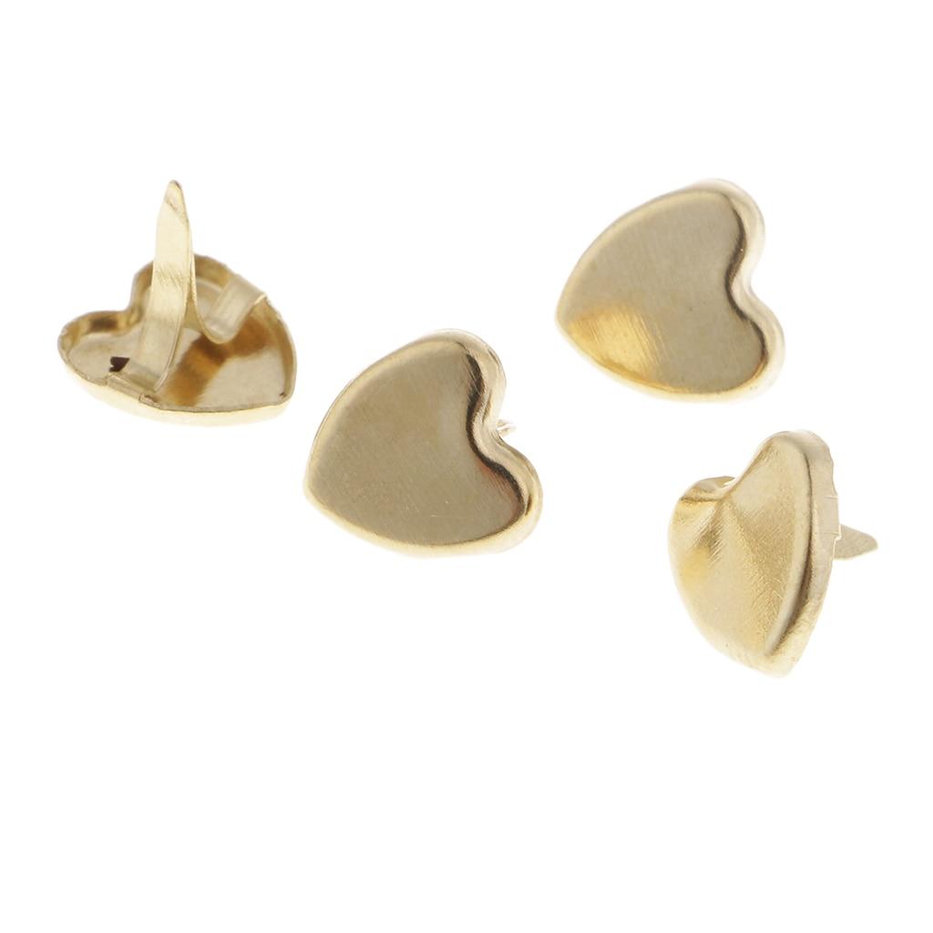 300pcs Gold Metal Heart Star Head Split Pin Brads Scrapbook Paper Fasteners
