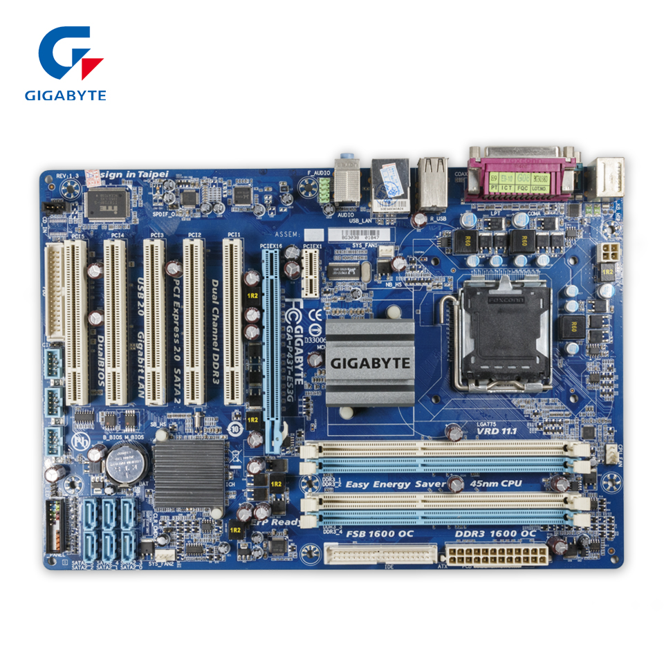 Original Gigabyte GA-P43T-ES3G Desktop Motherboard P43T-ES3G P43 Socket LGA 775 DDR3 ATX 100% Fully Test original gigabyte ga 945plm ds2 desktop motherboard 945plm ds2 945pl lga 775 ddr2 micro atx 100% fully test