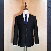 Pure Color Men's Formal Suit Jackets Size S-9XL Business Wedding Banquet Suit Jacket Men Blue and Black Blazer Male