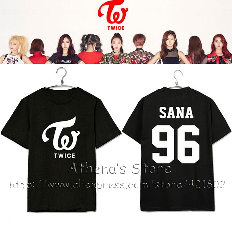 US $23 99 |KPOP TWICE member name T shirts 2016 Twice newest ablum THE  STORY BEGINS K pop t shirt South Korea Twice symbol Tee MOMO clothes-in