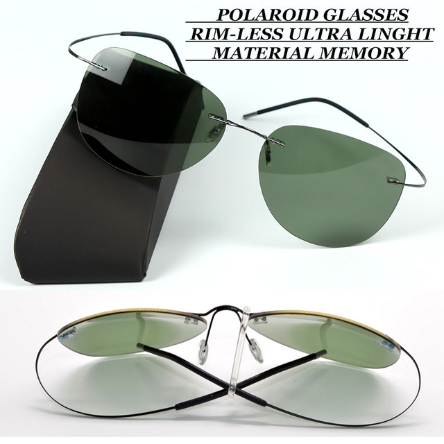 RIM-LESS POLARIZED MEN SUNGLASSES ULTRA LIGHT Driver TAC enhanced polaroid polarised UV400 WITH TEST CARD