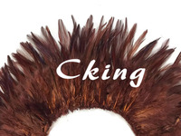 EMS Free Shipping 1kgs Brown Color Rooster Hackle Feather Strungs rooster feather Trimming Rolls DIY accessory 6 8inch