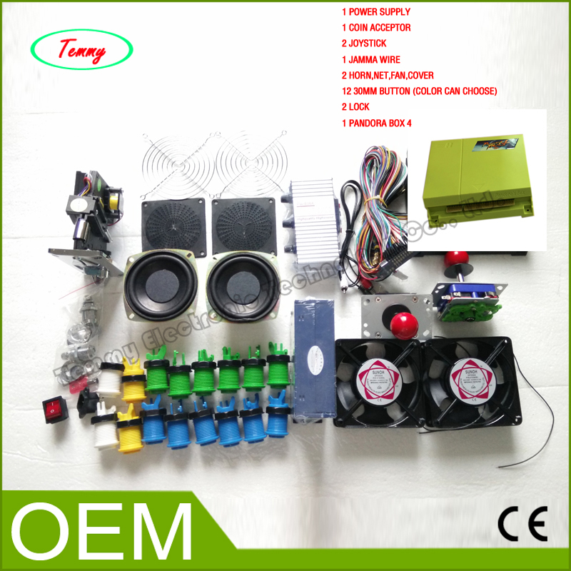 Arcade parts Bundles Kit with 645 in 1 pandora box 4 balltop Joystick Acceptor Microswitches Buttons To Build Up Arcade Machine