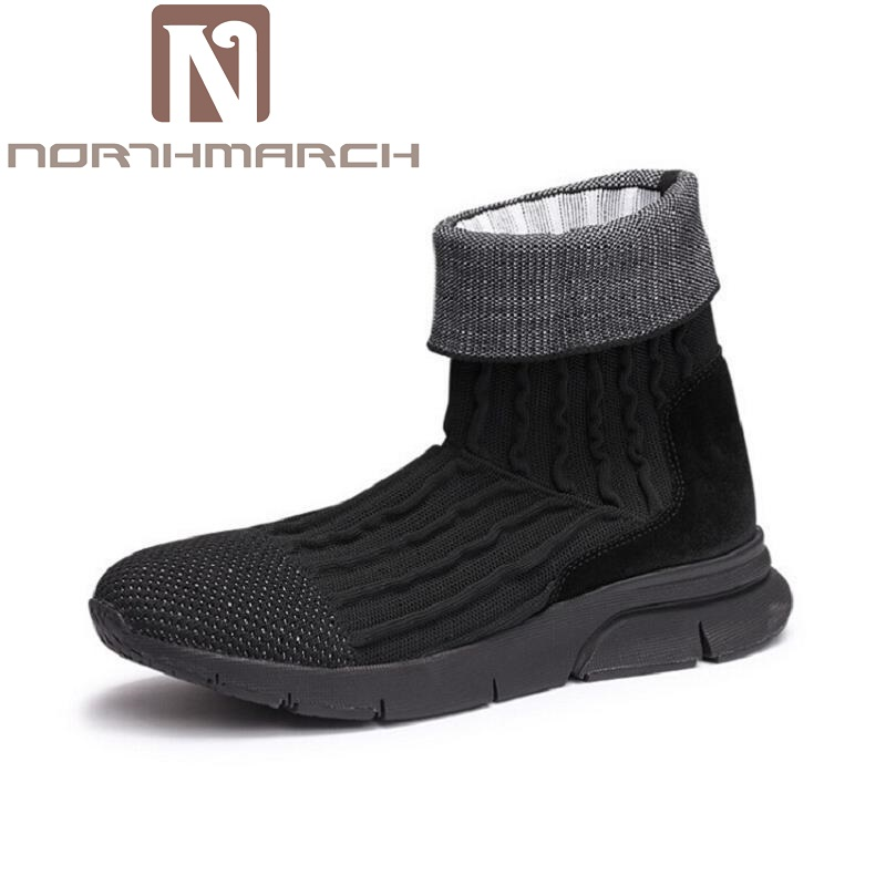 NORTHMARCH Men Boots Breathable Basic Ankle Genuine Leather Luxury Trainers Snow Winter Boots Casual Flats Motocycle Shoes Black new fashion men luxury brand casual shoes men non slip breathable genuine leather casual shoes ankle boots zapatos hombre 3s88