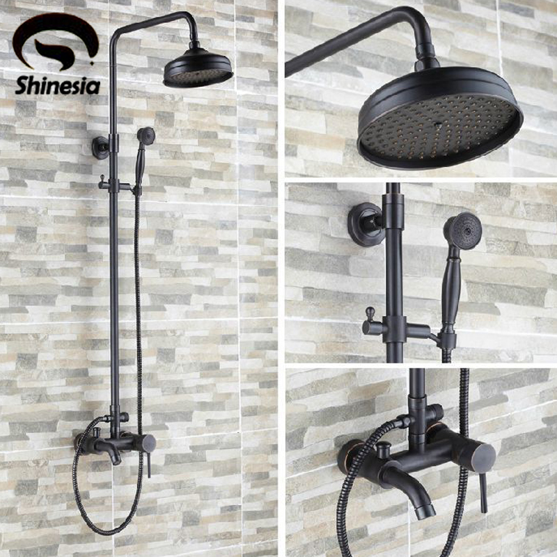 Luxury Oil Rubbed Bronze Bathroom 8 Rain Shower Faucet Set Wall Mounted Tub Shower Mixer Tap In