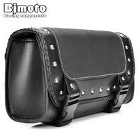BJMOTO Black Motorcycle Saddlebag Bag PU Leather Luggage Saddle Bags For Harley Sportster Pannier Side Saddle Bag