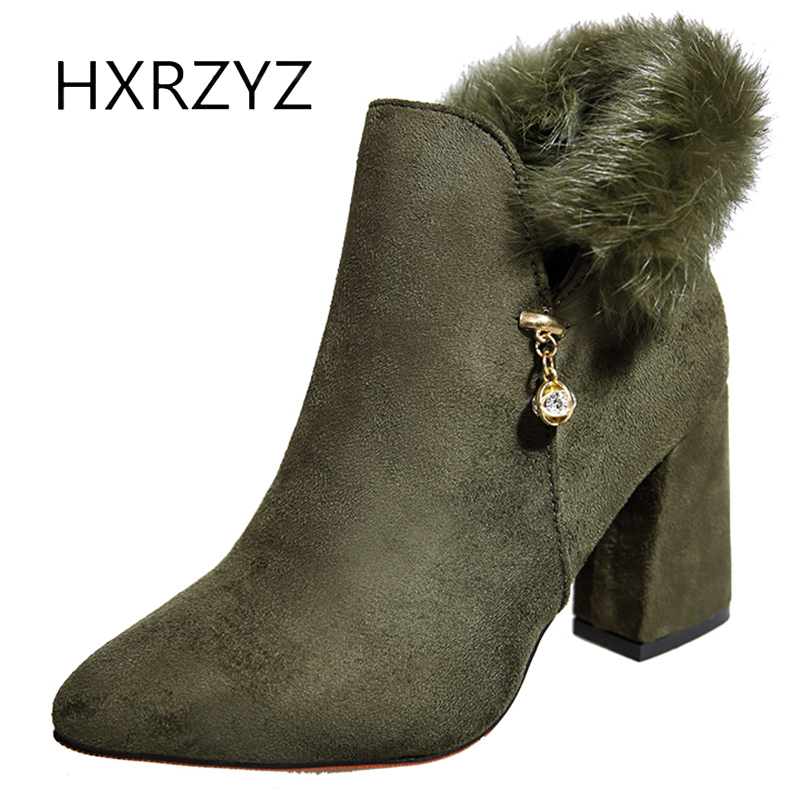 HXRZYZ womens fur warm winter boots female black flock ankle boots spring/autumn new fashion zipper thick high heels women shoes hxrzyz autumn ankle boots women increased wedges new round toe thick heel female anti skid side zipper shoes black winter boots