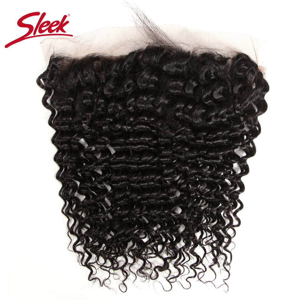 Sleek Malaysian Deep Wave Lace Frontal Closure 100% Remy Human Hair 13X4 Swiss Lace Natural Color 8 18 Inch