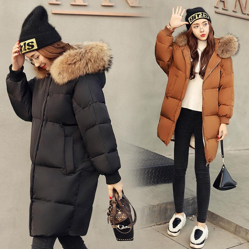 2018 New Arrival Feaday Long Solid Zipper Regular Thick Full Super Large Hair Collar Down Jacket Womens Medium Down Coats
