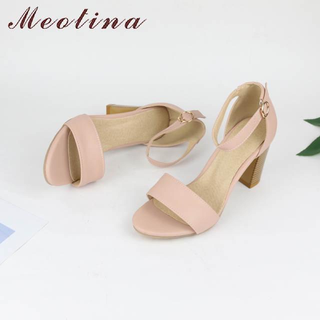 70e61521c Meotina Sapatos Mulheres Sandálias de Verão 2018 Do Dedo Do Pé Aberto Tira  No Tornozelo Grosso