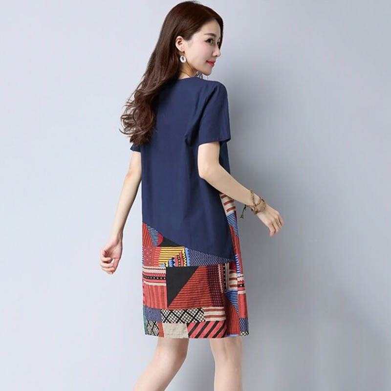 Women Lady Girl Dress Printing Short Sleeve Round Collar Casual Medium Length Summer Clothing -MX8