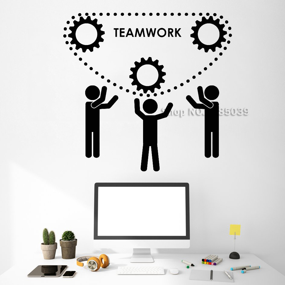 New Style Vinyl Wall Decal Teamwork Office Motivation Gear Wall Sticker Adesivo De Parede Removable Wallpapers Unique Gift LC531
