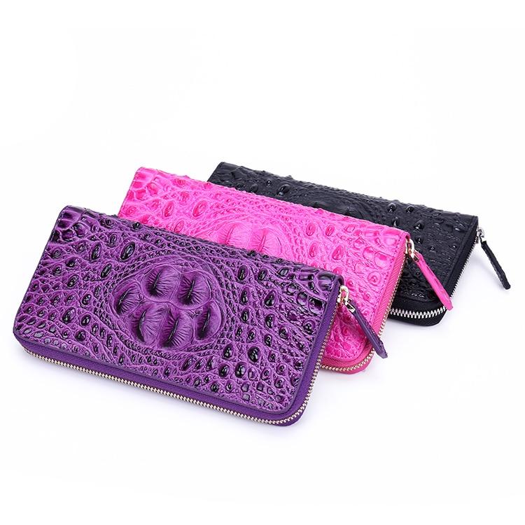 2019 femmes en cuir véritable fermeture à glissière sac Alligator peau de vache portefeuille porte monnaie porte cartes pochette longue violet portefeuilles monnaie poche - 4