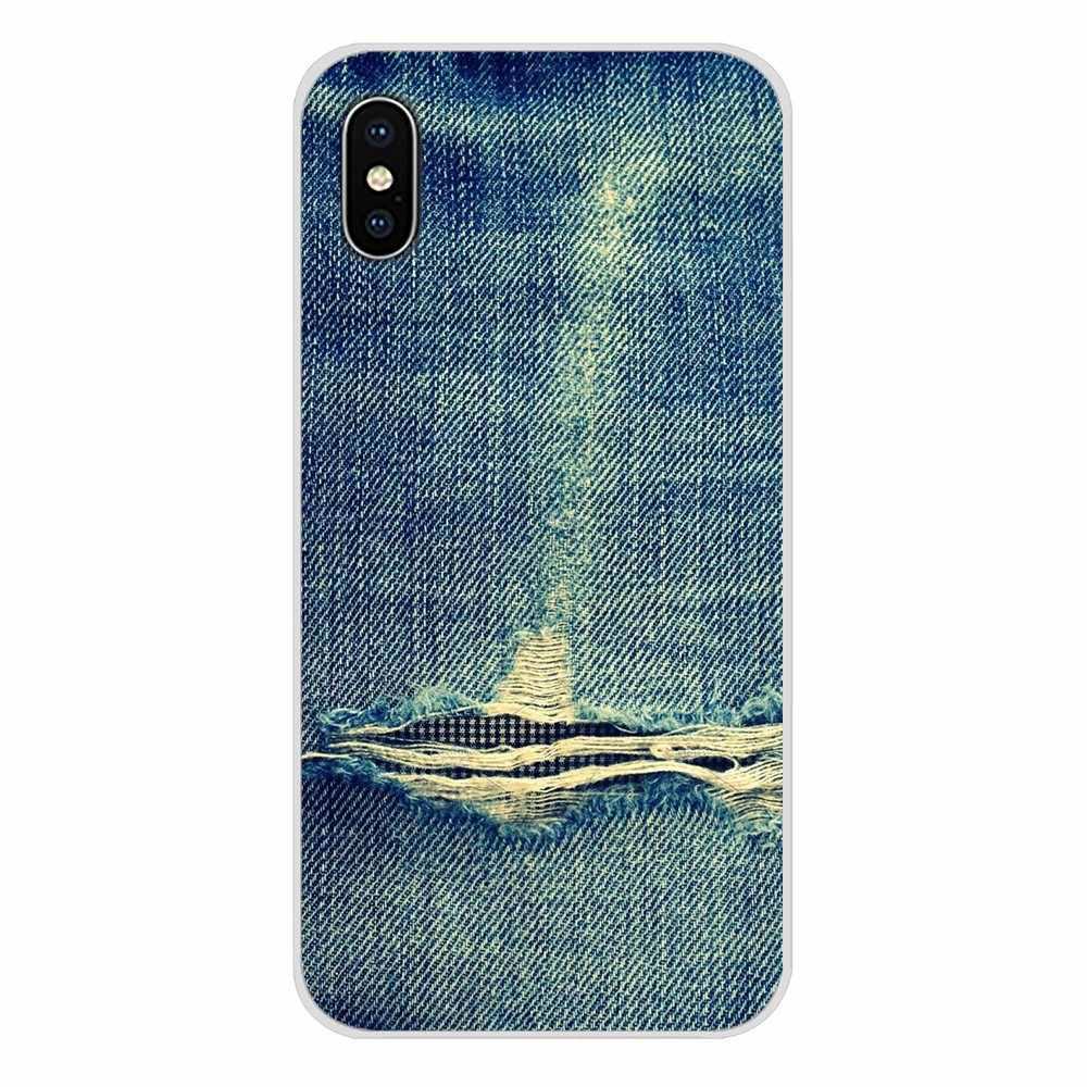 Dentelle Patch Denim Jeans Accessoires coque de téléphone Couvre Pour Samsung Galaxy S4 S5 MINI S6 S7 bord S8 S9 S10 Plus note 3 4 5 8 9