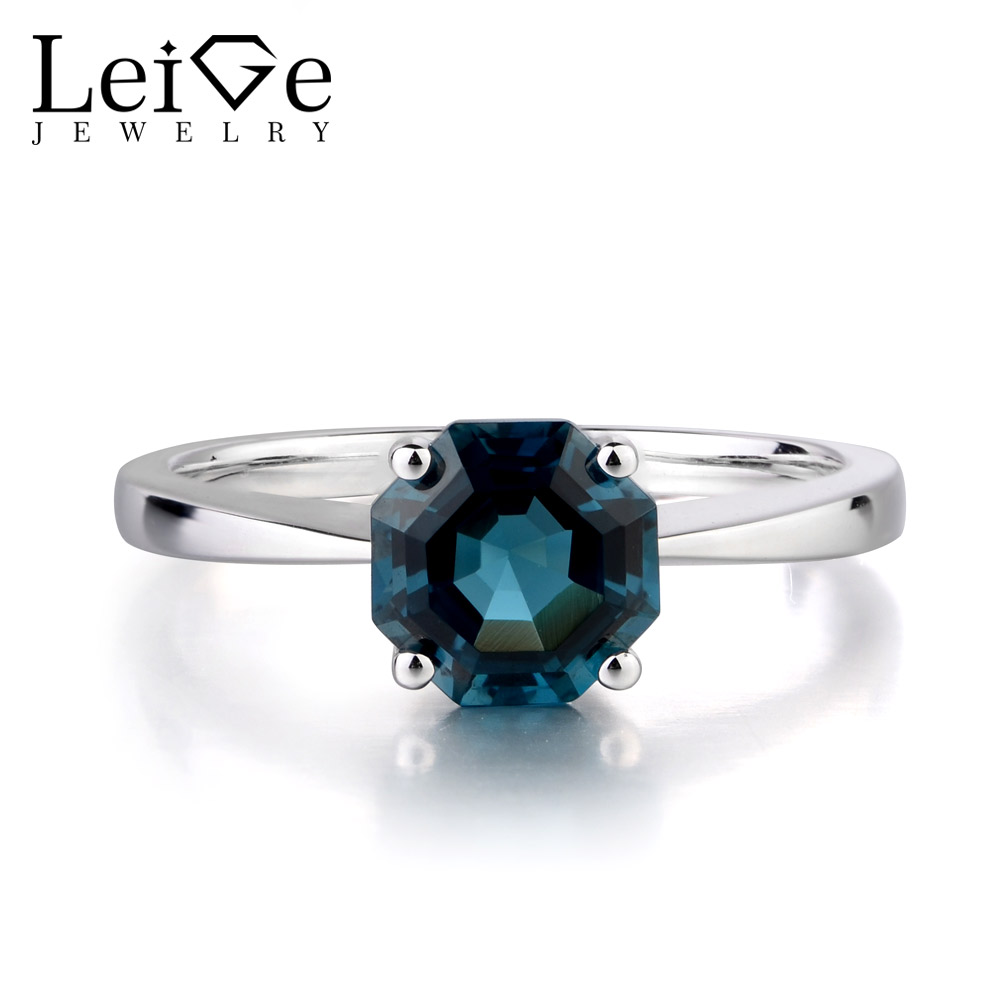 Leige Jewelry Natural London Blue Topaz Solitaire Octagon Cut Engagement Rings For Woman November Birthstone 925