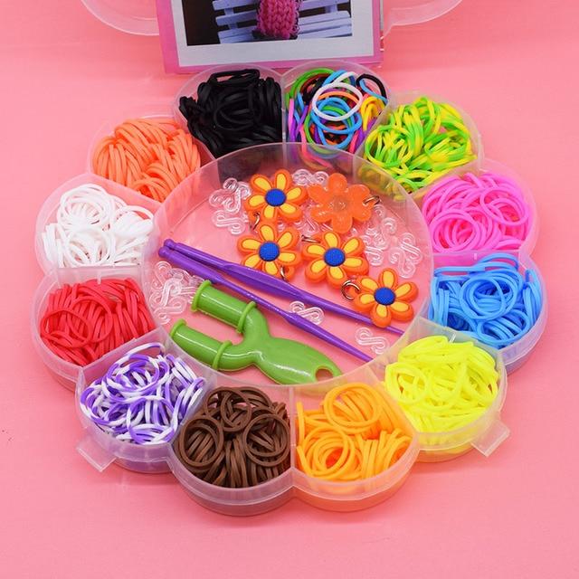 600pcs Diy colorful gum kids toys rubber bands bracelet loom for girl hair band refill make woven bracelets cute sunflower gift