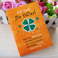 12 Seconds Voice Sound Record Greeting Card Clover Pattern Birthday Card
