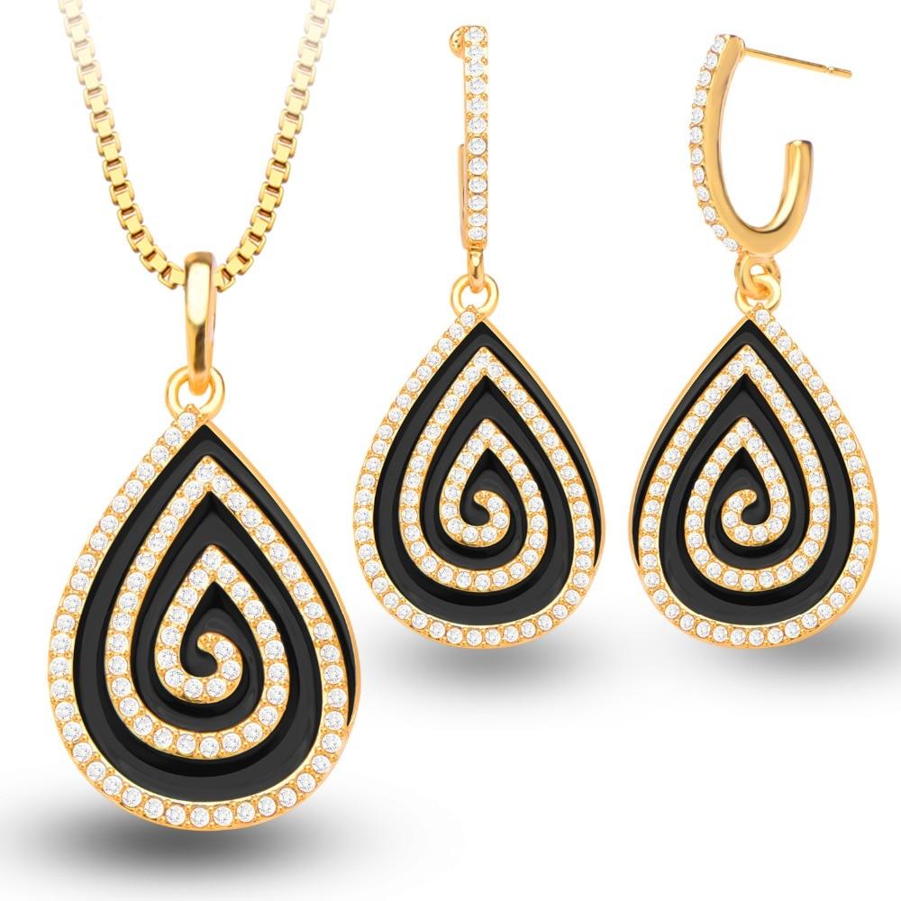 New Unique Black Glaze Jewelry Set Goldcolor Rhinestone Water Drop  Pendants Necklace Earrings Set