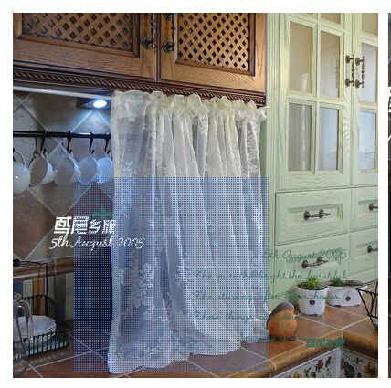 Beige Retro Gauze Half Curtain Kitchen Cabinets Caffee Dust Proof And Decoration Free Shipping