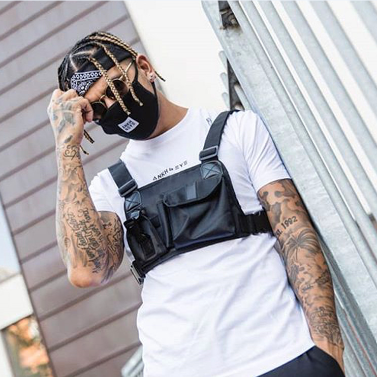 Street Style Tactical Chest Rig Bag Hip Hop Skateboard Military Chest Bag For Men Functional Waist Packs Adjustable Waistcoat